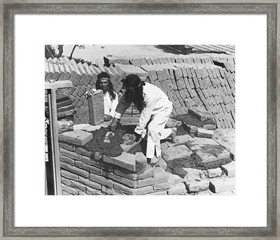 Indians Building Missions Framed Print by Underwood Archives Onia