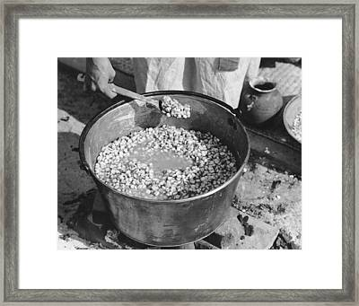 Indians Cooking Corn Framed Print