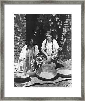 Indians Using Mortar And Pestle Framed Print