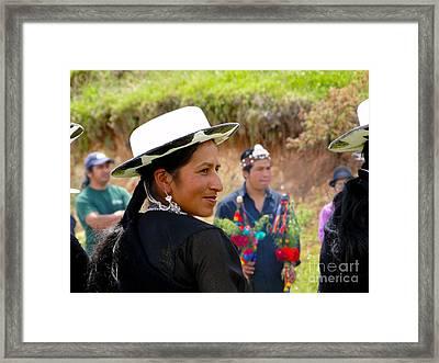 Indigenous Woman Of Saraguro Framed Print