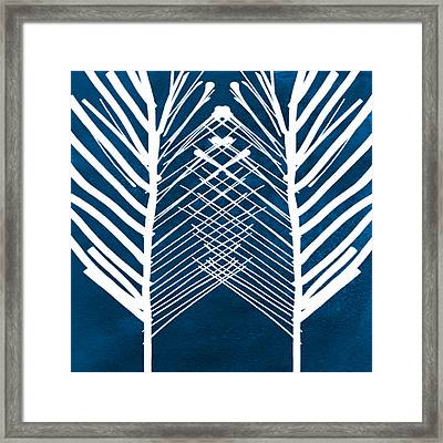 Indigo And White Leaves- Abstract Art Framed Print by Linda Woods