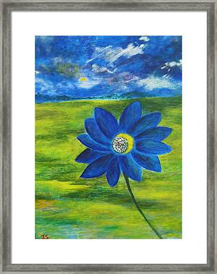 Indigo Blue - Sunflower Framed Print