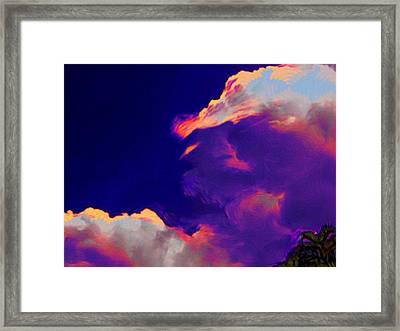 Indigo Blue Sky Drama With Palms - Horizontal Framed Print