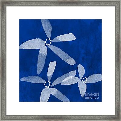 Indigo Flowers Framed Print by Linda Woods
