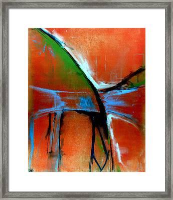 Indigo Oranges Framed Print