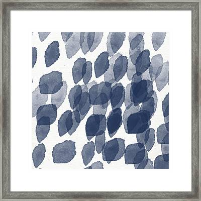 Indigo Rain- Abstract Blue And White Painting Framed Print by Linda Woods