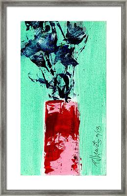 Indigo Roses In Vase Framed Print by P J Lewis