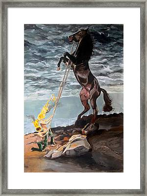 Framed Print featuring the painting Indomitable Listen With Music Of The Description Box by Lazaro Hurtado