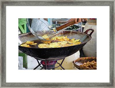 Indonesia, Bali Frying Indonesian Food Framed Print