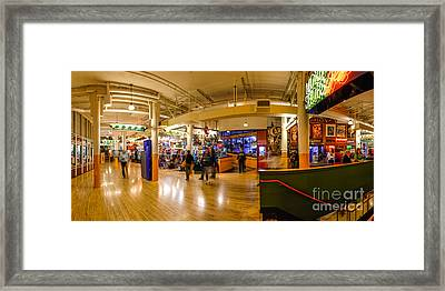 Indoor Panorama Of Pike Place Market Framed Print by Silvio Ligutti