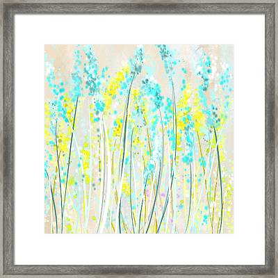 Indoor Spring- Yellow And Teal Art Framed Print