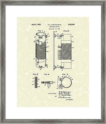 Inductor 1932 Patent Art Framed Print