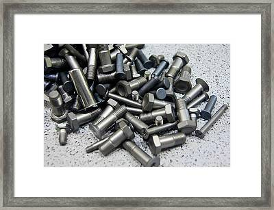 Industrial Bolts Framed Print by Mark Williamson