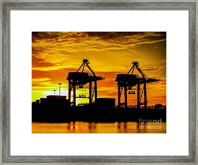 Industrial Container Cargo Freight Ship  Framed Print by Anek Suwannaphoom