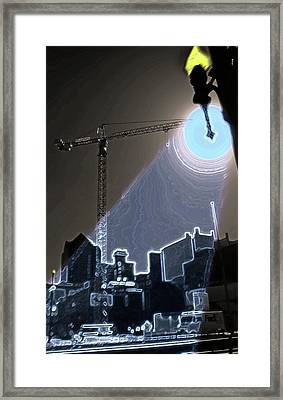 Industrial Crane 3 - Once In A Blue Moon Framed Print by Steve Ohlsen