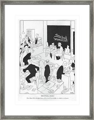 Industrial Crises The Man Who Stepped Framed Print by Gluyas Williams