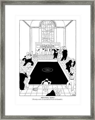 Industrial Crisis The Day A Cake Of Soap Sank Framed Print by Gluyas Williams