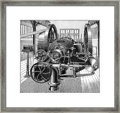 Industrial Gas Engine Framed Print by Science Photo Library