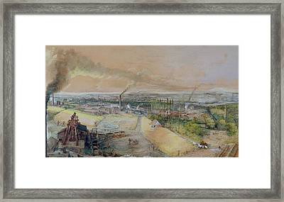 Industrial Landscape In The Blanzy Coal Field Framed Print by Ignace Francois Bonhomme