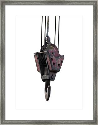 Industrial Lifting Hook And Pulley Framed Print by Science Photo Library
