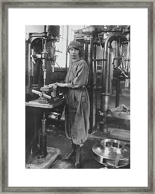 Industrial Machine Operator Framed Print by Hagley Museum And Archive