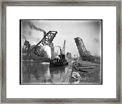 Industrial Maritime Steam-age Chicago  C. 1890 Framed Print by Daniel Hagerman