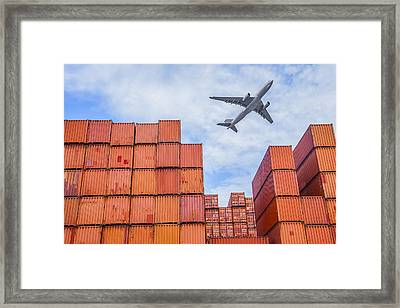 Industrial Port With Containers Framed Print