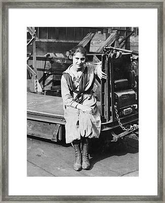 Industrial Truck Operator Framed Print by Hagley Museum And Archive