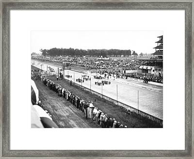 Indy 500 Auto Race Framed Print by Underwood Archives