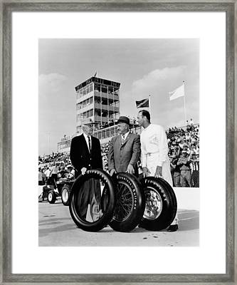 Indy 500 Firestone Tires Framed Print by Underwood Archives