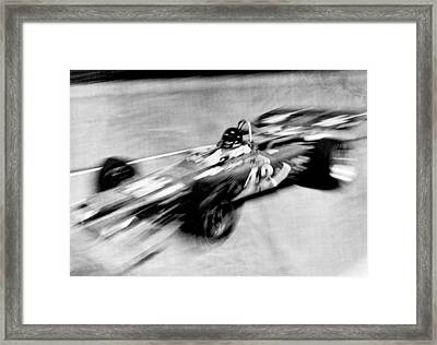 Indy 500 Race Car Blur Framed Print by Underwood Archives