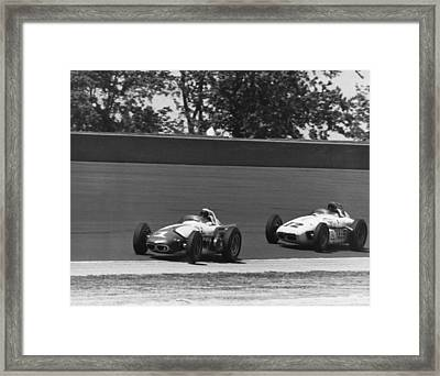 Indy 500 Race Cars Framed Print by Underwood Archives
