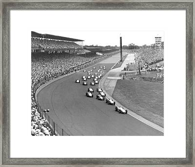 Indy 500 Race Start Framed Print by Underwood Archives