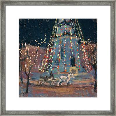 Indy Monument Lights Framed Print by Donna Shortt