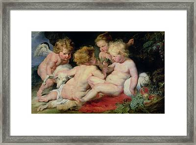 Infant Christ With John The Baptist And Two Angels Framed Print