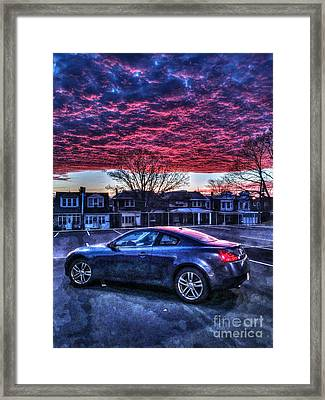 Infiniti G37 In The Clouds Framed Print by Mark Ayzenberg