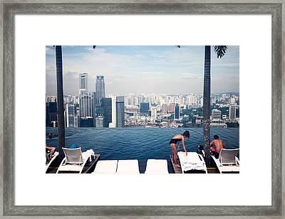 Infinity Pool At Marina Bay Sands Framed Print by Chris Quek