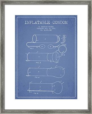 Inflatable Condom Patent From 1981 - Light Blue Framed Print