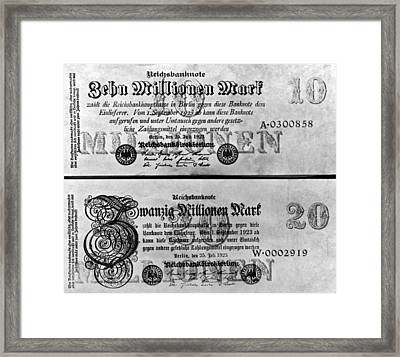 Inflated German Mark Bills Framed Print