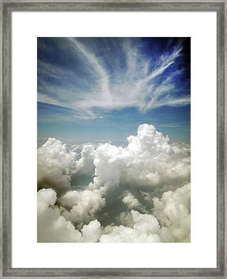 Inflight Sky Shot Of The Cotton-like Framed Print by Melindachan