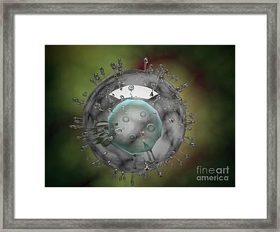 Influenza Virus, Glassy Look Framed Print