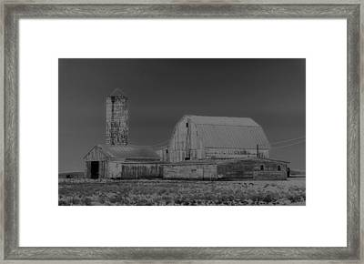 Infrared Black And White Barn Framed Print by Dan Sproul