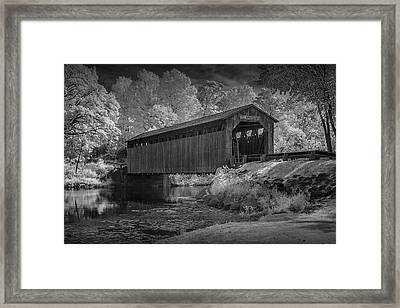 Infrared Black And White Photograph Of The Fallasburg Covered Bridge Framed Print
