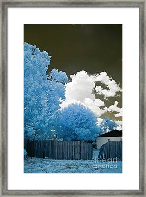 Infrared Broken Fence Framed Print