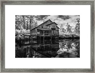 Infrared Fish Dock Framed Print