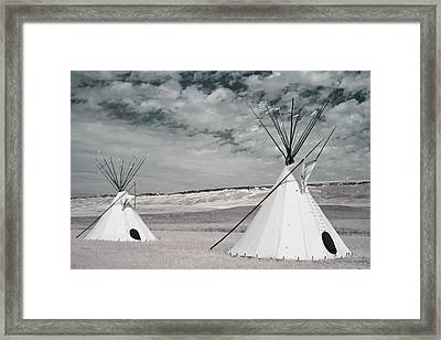 Infrared Image Of Native American Tipis Framed Print by Roberta Murray
