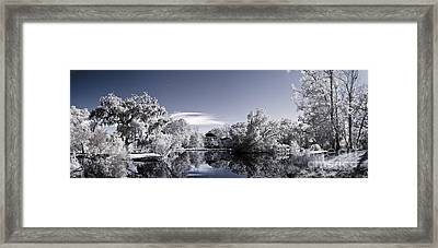 Infrared Landscape Of Parkland And Pond Framed Print by John Wollwerth