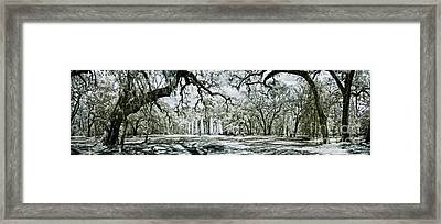 Infrared Panorama Of Old Ruin And Forest Framed Print