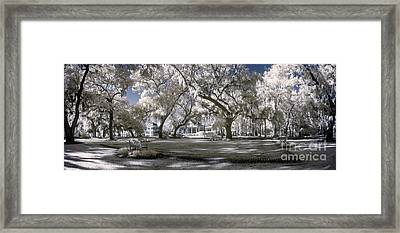Infrared Park Landscape Framed Print by John Wollwerth