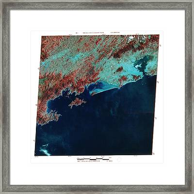 Infrared Satellite Image Of Rio De Janeiro Framed Print by Mda Information Systems/science Photo Library